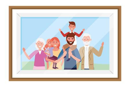 family avatar cartoon character photo frame vector illustration graphic design