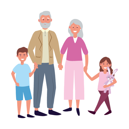 elderly couple with children avatar cartoon character with bunny vector illustration graphic design