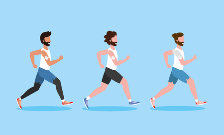 set men running exercise activity vector illustration Çizim
