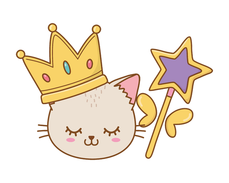 cat with crown and wand icon cartoon vector illustration graphic design Imagens - 123126103