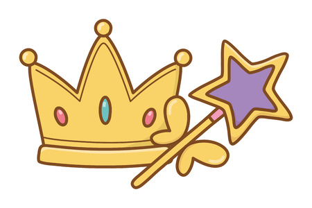 crown and wand icon cartoon vector illustration graphic design