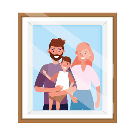 couple with child avatar cartoon character photo frame vector illustration graphic design