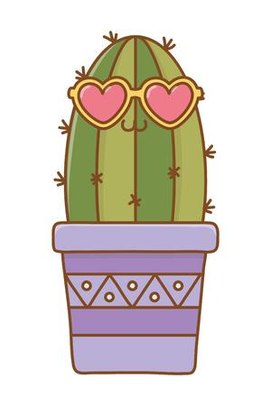 cactus with heart sunglasses icon cartoon vector illustration graphic design