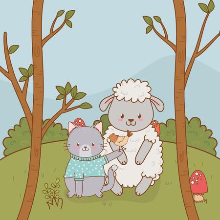 group of woodland animals in the field vector illustration design Stock Illustratie