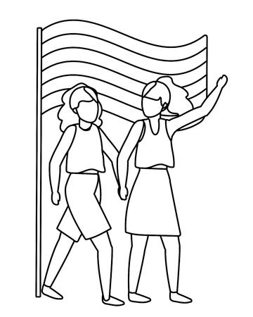homosexual proud lesbian women couple with lgtbi flag cartoon vector illustration graphic design