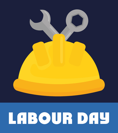 builder helmet with wrench keys vector illustration design