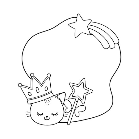 cat with crown and wand frame icon cartoon black and white vector illustration graphic design Imagens - 123126184
