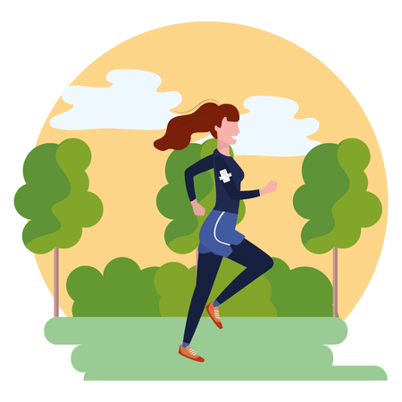Femme qui court avec avatar sportswear personnage de dessin animé paysage de parc illustration vectorielle design graphique Vecteurs