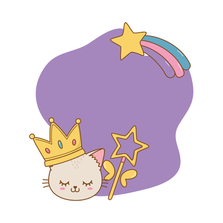 cat with crown and wand frame icon cartoon vector illustration graphic design Imagens - 123126206