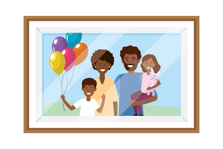 couple with children avatar cartoon character with balloons photo frame vector illustration graphic design Иллюстрация