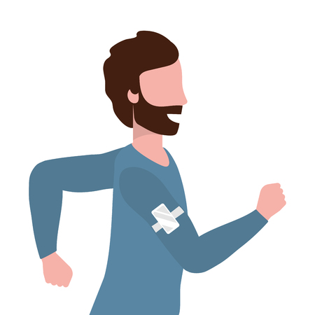fitness sport train man running cartoon vector illustration graphic design