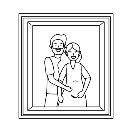 pregnant couple avatar cartoon character photo frame black and white vector illustration graphic design Иллюстрация