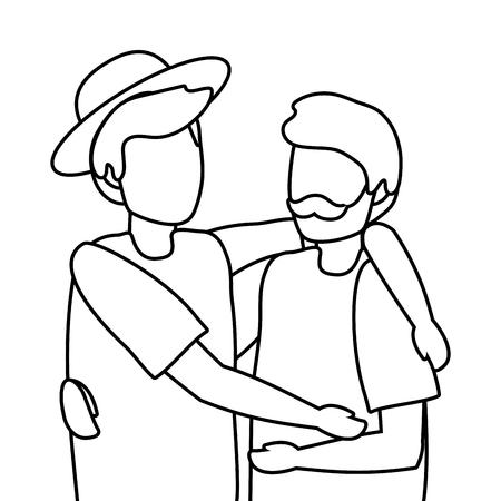 young men friends hugging cartoon vector illustration graphic design