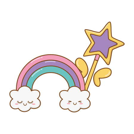 magic wand with cloud and rainbow icon cartoon vector illustration graphic design Imagens - 123126311