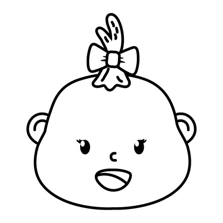 cute baby shower baby face cartoon vector illustration graphic design Ilustracja