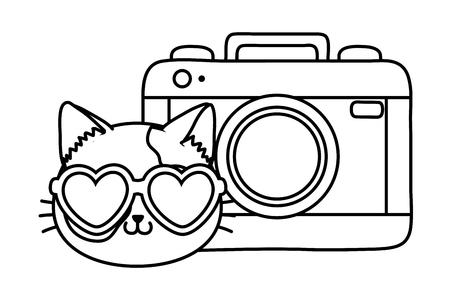 Gato y cámara fotográfica icono de dibujos animados en blanco y negro ilustración vectorial diseño gráfico
