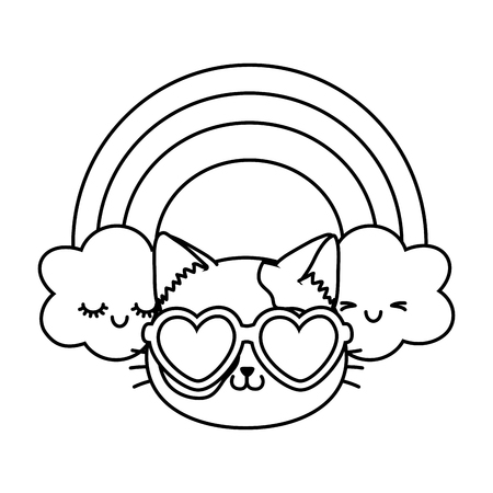 cat with heart sunglasses and rainbow icon cartoon black and white vector illustration graphic design