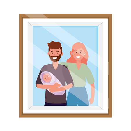 couple with baby avatar cartoon character photo frame vector illustration graphic design Иллюстрация