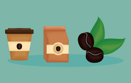 delicious coffee time set icons vector illustration design