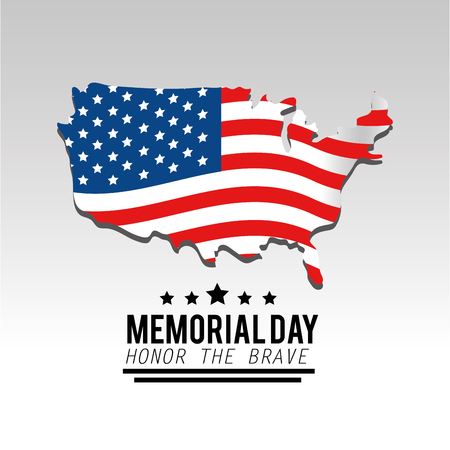 usa map and flag to memorial day vector illustration Illustration