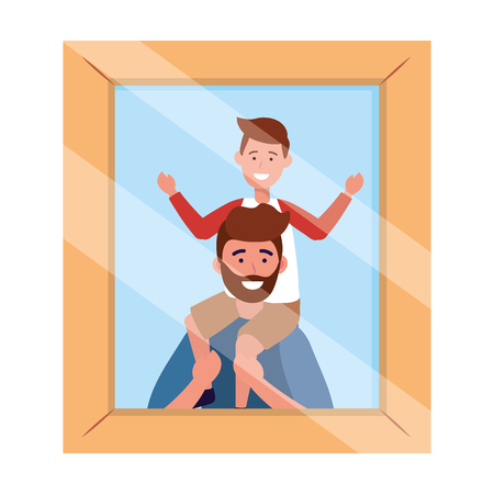 man carrying a child avatar cartoon character photo frame vector illustration graphic design