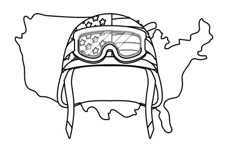 united state map and military helmet icon cartoon black and white vector illustration graphic design