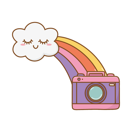 cloud with rainbow and camera icon cartoon vector illustration graphic design Vectores