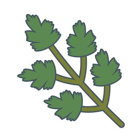 delicious healthy meal vegetable coriander cartoon vector illustration graphic design Vettoriali