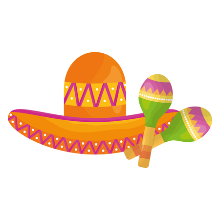 mexican hat with maracas vector illustration design Vectores