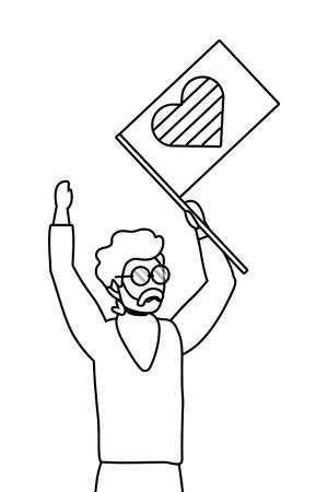 homosexual proud gay man holding lgbt flag cartoon vector illustration graphic design