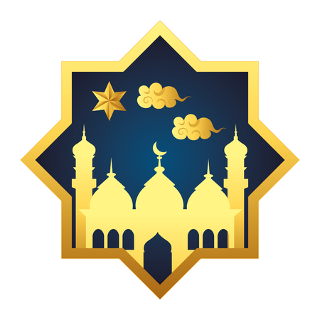 islamic building icon cartoon with star and clouds arabic geometric ornament vector illustration graphic design
