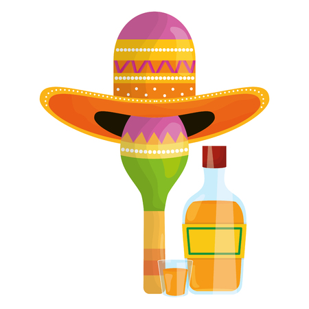 maraca with mexican hat and tequila bottle vector illustration design