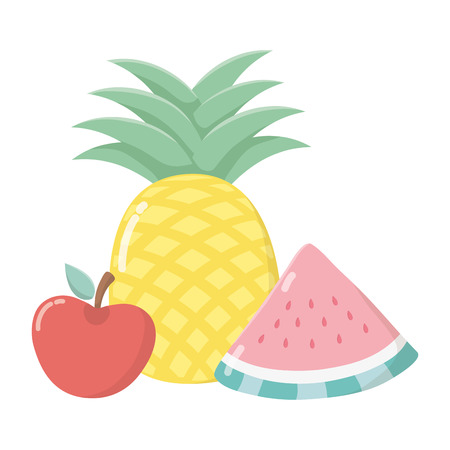 delicious tasty food fruits cartoon vector illustration graphic design