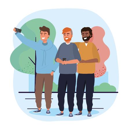 men friends together with smartphone selfie vector illustration