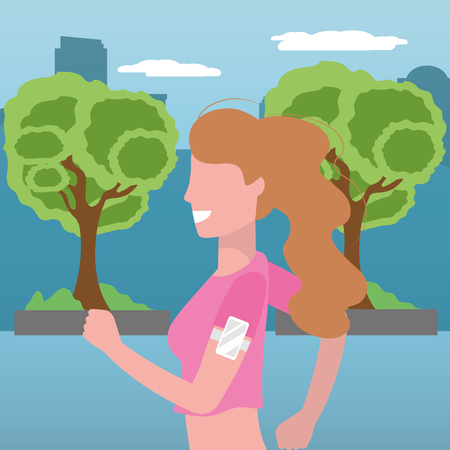 woman running portrait with sportwear avatar cartoon character park landscape vector illustration graphic design  イラスト・ベクター素材