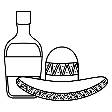 Sombrero mexicano con botella de tequila, diseño de ilustraciones vectoriales