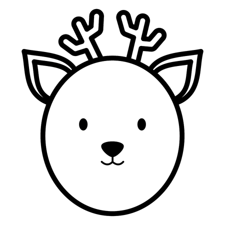 cute reindeer head childish character vector illustration design  イラスト・ベクター素材