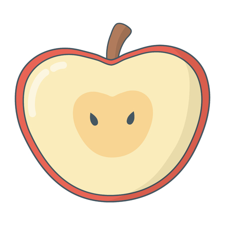 delicious tasty fruit apple cartoon vector illustration graphic design