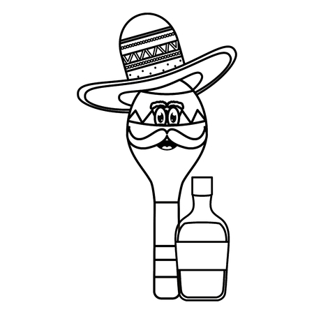 maracas with mexican hat character and tequila bottle vector illustration design