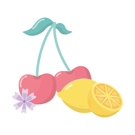 delicious tasty food fruits cartoon vector illustration graphic design