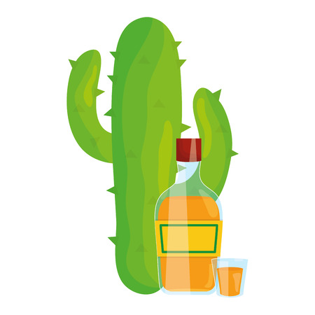 mexican cactu plant with tequila bottle vector illustration design