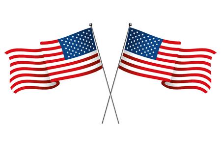 L'icône du drapeau des États-Unis cartoon vector illustration graphic design isolé Vecteurs