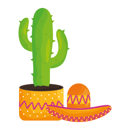 cactus plant with mexican hat vector illustration design Vectores