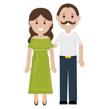 traditional mexicans couple characters vector illustration design