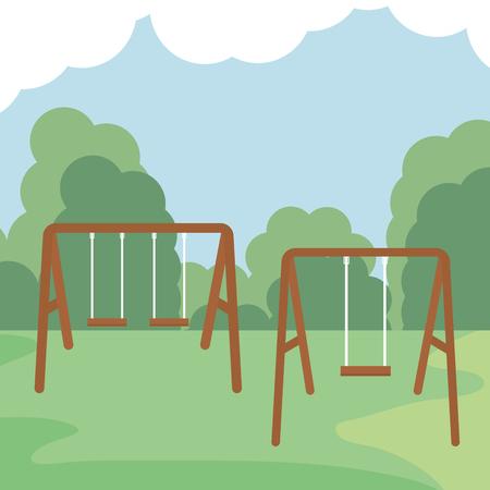 swing wooden in the park vector illustration design Stockfoto - 123087006