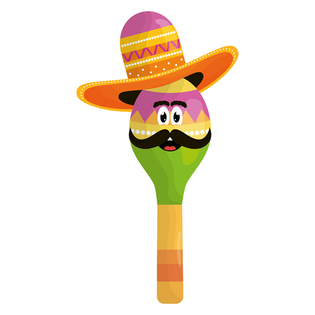 mexican maracas with mustache and hat character
