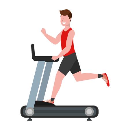 fitness esercizio uomo che corre su tapis roulant allenamento sano stile di vita in forma fumetto illustrazione vettoriale graphic design
