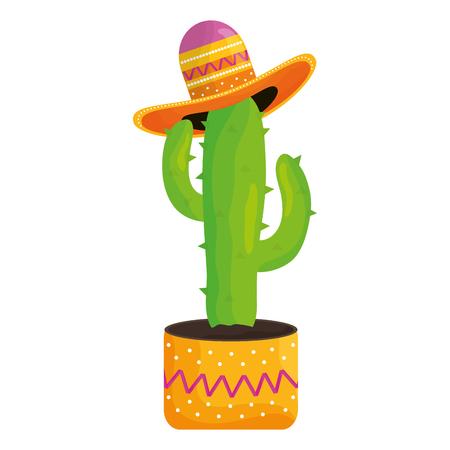 Planta de cactus con sombrero mexicano, diseño de ilustraciones vectoriales