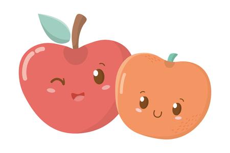 delicious tasty sweet fruits apples cartoon vector illustration graphic design