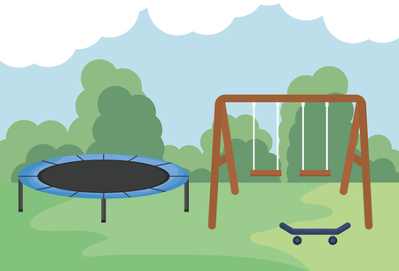 swing wooden with elastic trampilone in the park vector illustration design Stockfoto - 123087133